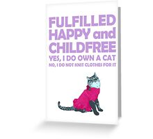 Childfree with cat (light) Greeting Card