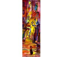 Medieval alley by night in Florence Photographic Print