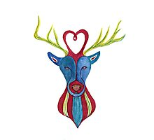 Deer with Love Photographic Print