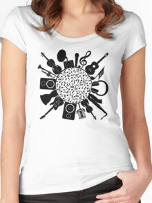 Music Notes  Instrument Collage Women's Fitted Scoop T-Shirt