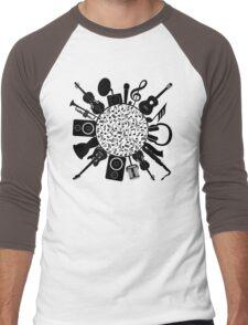 Music Notes  Instrument Collage Men's Baseball ¾ T-Shirt