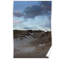 Sunset Sky Snowy Beach Poster