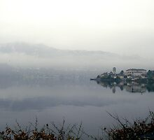 A misty morning on the Orta lake by sstarlightss