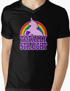 Funny - Totally Straight (vintage distressed look) Mens V-Neck T-Shirt