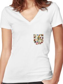 Flowery (white version) Women's Fitted V-Neck T-Shirt