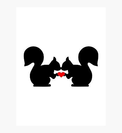 Squirrel heart love Photographic Print