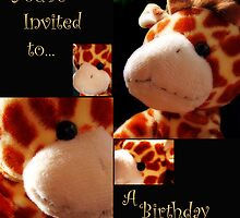 Cute Giraffe Birthday Invitation Card by Chelsea Brewer