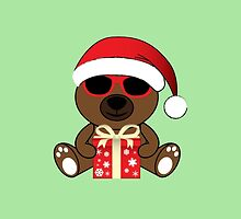 Cool Santa Bear with sunglasses and gift by PLdesign