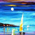 Moon Over The Bay — Buy Now Link - www.etsy.com/listing/227611188 by Leonid  Afremov