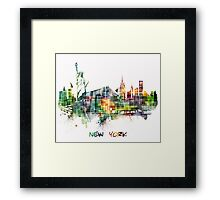 New York City skyline colored cube Framed Print