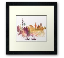 New York City skyline yellow cube Framed Print
