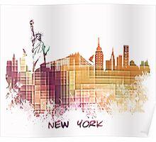 New York City skyline yellow cube Poster