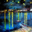 Starry Night over the Rhone /   My  Version of  Vincent  van  Gogh's painting of Arles at night;        ( My Paintings)  by Rick  Todaro