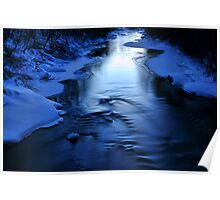 Icy winter blue river Poster