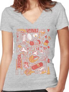 rugby Women's Fitted V-Neck T-Shirt