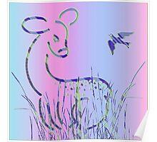Bambi and Bird Poster