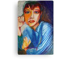 Carmel - Portrait Of A Woman In A Blue Dress Canvas Print