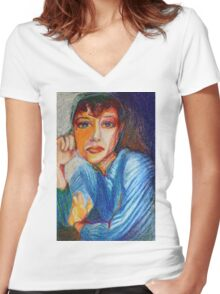 Carmel - Portrait Of A Woman In A Blue Dress Women's Fitted V-Neck T-Shirt