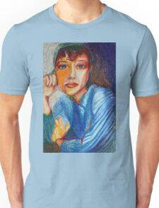 Carmel - Portrait Of A Woman In A Blue Dress Unisex T-Shirt