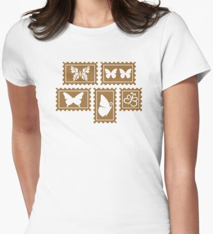 Butterfly stamp collection Womens Fitted T-Shirt