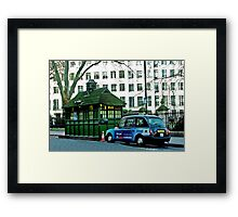 London Cab and Hut Framed Print