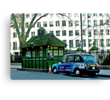 London Cab and Hut Canvas Print