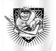 funny ice hockey shield Poster