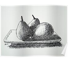 Cross Hatched Pears Poster