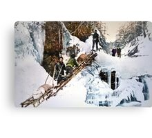 "Stampeders hauling sleds up ""Jacob's Ladder"" Canvas Print"