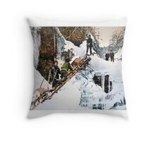 "Stampeders hauling sleds up ""Jacob's Ladder"" Throw Pillow"