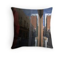 Red Dress in the Window Throw Pillow
