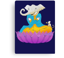 Ganesh on Lotus with Mouse Canvas Print