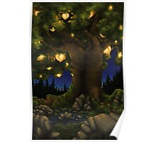 Glowing Peach Tree Poster
