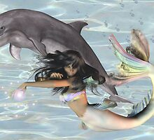 Sea Witch .. mermaid and dolphin by LoneAngel