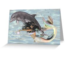 Sea Witch .. mermaid and dolphin Greeting Card