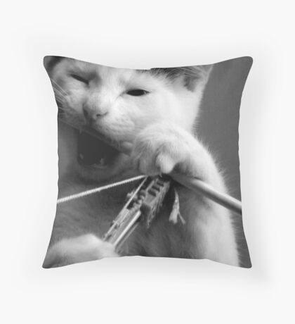 Teething Pussy Throw Pillow