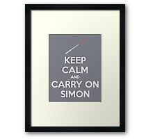 Keep Calm and Carry On Simon—White Text Framed Print