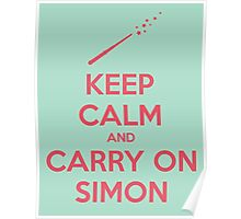 Keep Calm and Carry On Simon—Pink Text Poster