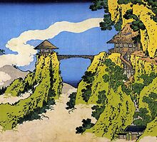 'Temple Bridge' by Katsushika Hokusai (Reproduction) by Roz Abellera Art Gallery