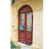 Brown door with Blue mail box,Rhodes Photographic Print