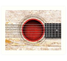 Old Vintage Acoustic Guitar with Japanese Flag Art Print