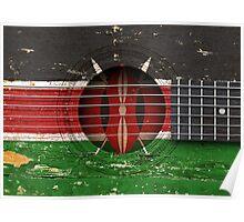 Old Vintage Acoustic Guitar with Kenyan Flag Poster