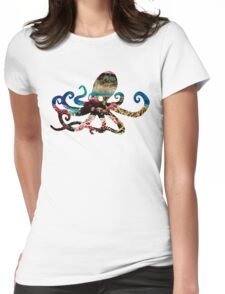 Coral Octopus Womens Fitted T-Shirt