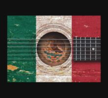 Old Vintage Acoustic Guitar with Mexican Flag Kids Clothes