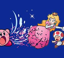 Kirby with the Mario Gang by OfficialLNG