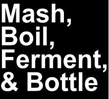 Beer Brewing - Steps - Mash, Boil, Ferment, Bottle Photographic Print