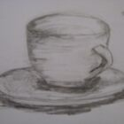 Cup and Saucer (Charcol/Pencil Feb 2009) by fatchickengirl