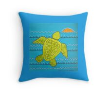 Otis the Baby Sea Turtle Escapes Throw Pillow