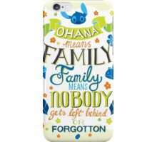 Lilo and Stitch Ohana Typography Quote iPhone Case/Skin