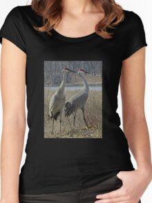 Cherokee Marsh Sandhill Cranes  Women's Fitted Scoop T-Shirt